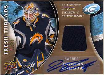 2009-10 Upper Deck Ice Fresh Threads Autographs #FTJE Jhonas Enroth