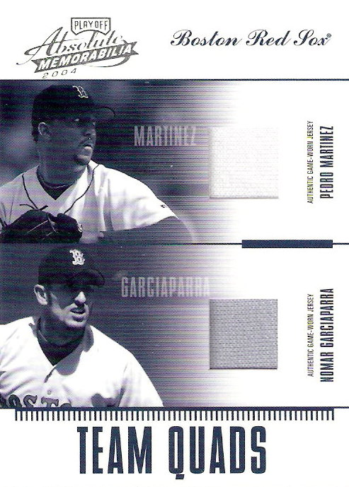 2004 Absolute Memorabilia Team Quad Material #2 Nomar Garciaparra/Manny Ramirez/Pedro Martinez/Trot Nixon