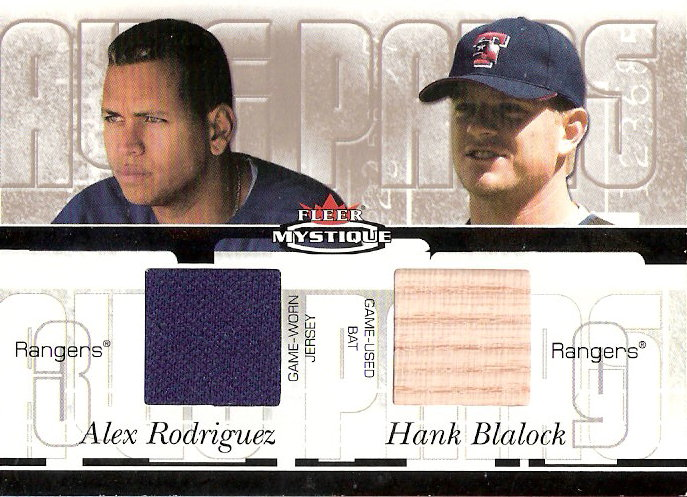 2003 Fleer Mystique Awe Pairs Memorabilia #ARHB Alex Rodriguez Jsy/Hank Blalock Bat