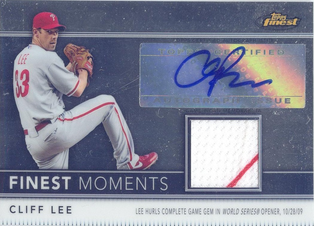 2011 Finest Moments Relic Autographs Refractors #FMA5 Cliff Lee   / 274