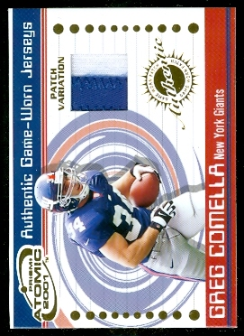 2001 Pacific Prism Atomic Jersey Patches #53 Greg Comella
