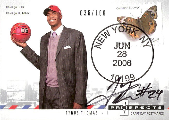 2006-07 Fleer Hot Prospects Draft Day Postmarks Autographs #TT Tyrus Thomas
