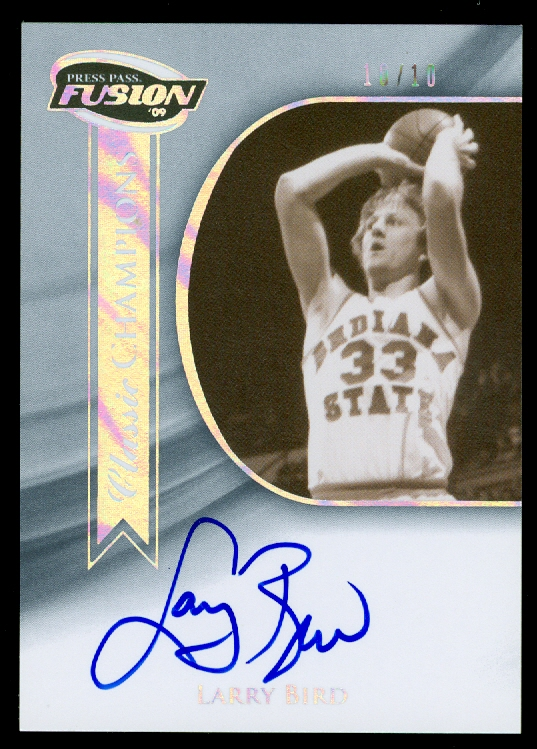2009 Press Pass Fusion Classic Champions Autographs Onyx #CCHLB Larry Bird/10