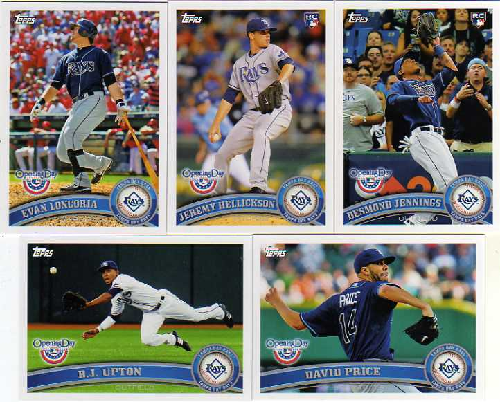 2011 Topps Opening Day Tampa Bay Rays Baseball Team Set w/ Jeremy Hellickson RC