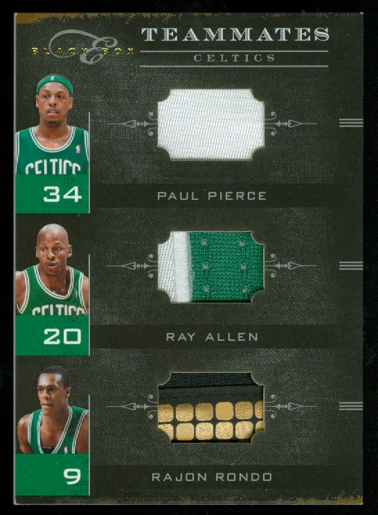 2010-11 Elite Black Box Teammates Materials Prime #3 Paul Pierce/Ray Allen/Rajon Rondo
