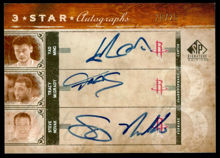 2006-07 SP Signature Edition Three Star Autographs #MMN Yao Ming/Tracy McGrady/Steve Novak