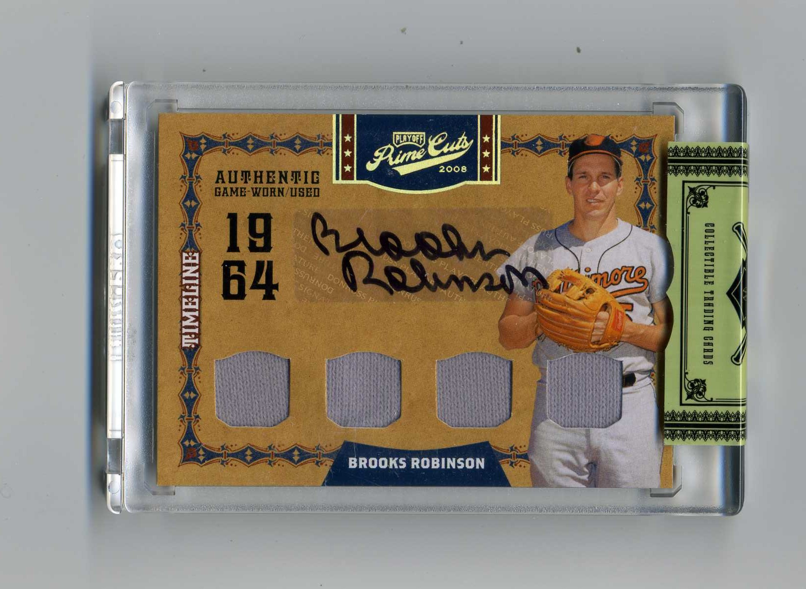 2008 Prime Cuts Timeline Signature Materials Quads #7 Brooks Robinson/15