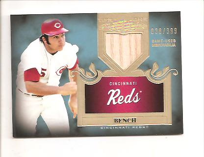 2011 Topps Tier One Top Shelf Relics #TSR19 Johnny Bench