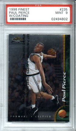 1998-1999 Topps Finest Basketball #235 Paul Pierce PSA Mint 9 ROOKIE Boston CELTICS NICE!!!