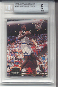 1992-93 Stadium Club Shaquille O'Neal Rookie #247 (BECKETT GRADED MINT 9)