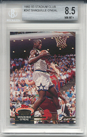 1992-93 Stadium Club Shaquille O'Neal Rookie #247 (BECKETT GRADED NRMT-MINT+ 8.5)
