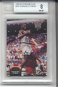 1992-93 Stadium Club Shaquille O'Neal Rookie #247 (Beckett Graded NrMt-Mint 8)