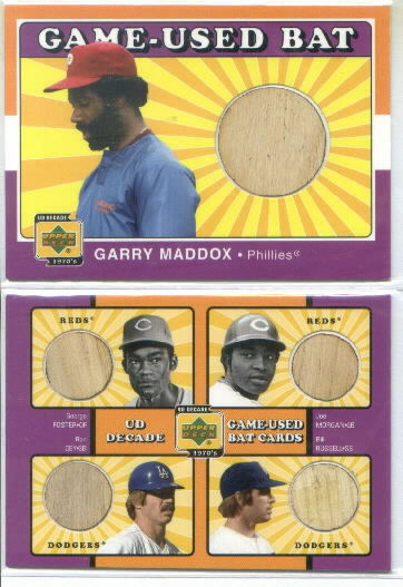 2001 Upper Deck Decade The 1970's Game Bat Combos #C-RD George Foster / Joe Morgan / Ron Cey / Bill Russell Quad Game-Used Bat Card *