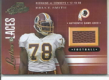 2001 Playoff Absolute Memorabilia Leather and Laces #LL13 Bruce Smith Game-Used Football Card Serial #045/825