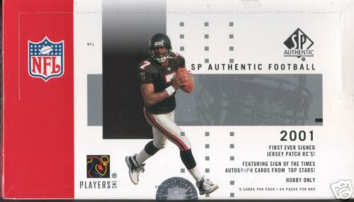 2001 Upper Deck Sp Authentic Football Factory Sealed Hobby Box (Possible Rookies : Ladainian Tomlinson, Steve Smith, Drew Brees, Rudi Johnson and many others) (Very Hard to Find Box)