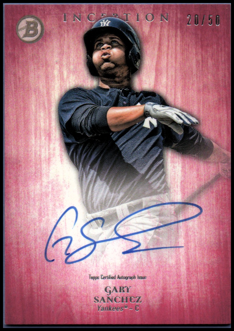 2014 Bowman Inception Prospect Autographs Pink #PAGS Gary Sanchez