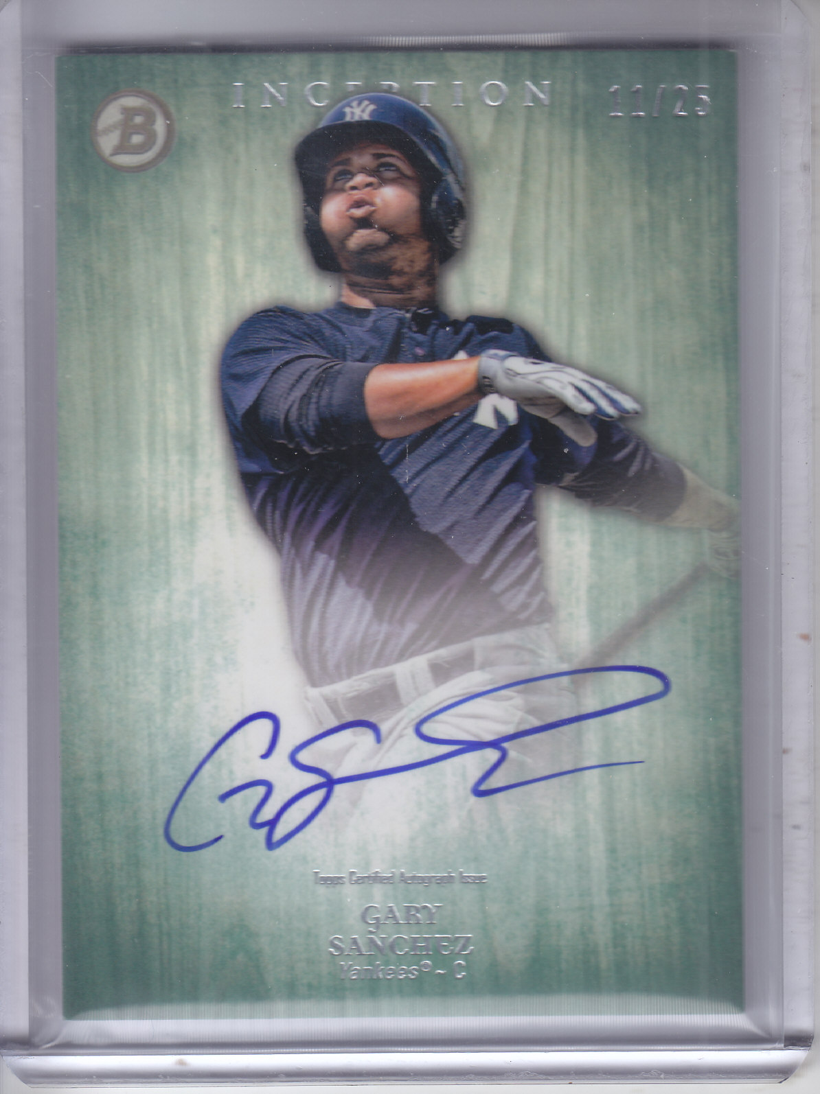 2014 Bowman Inception Prospect Autographs Green #PAGS Gary Sanchez