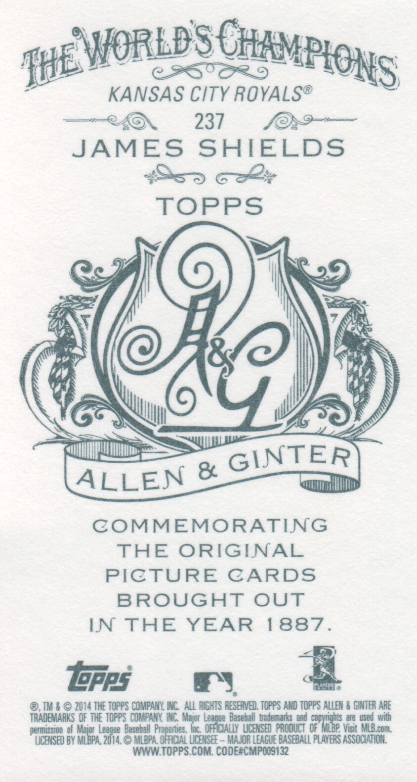 2014 Topps Allen and Ginter Mini A and G Back #237 James Shields