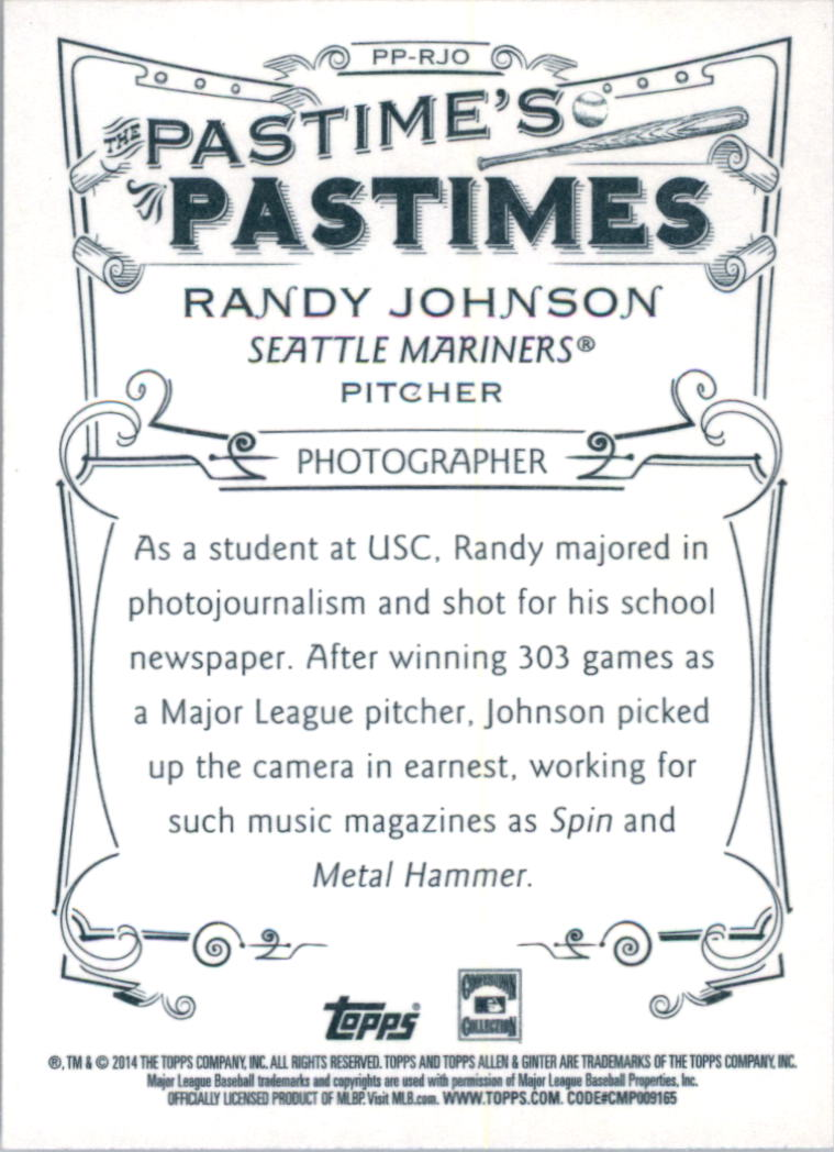 2014 Topps Allen and Ginter The Pastime's Pastime #PPRJO Randy Johnson