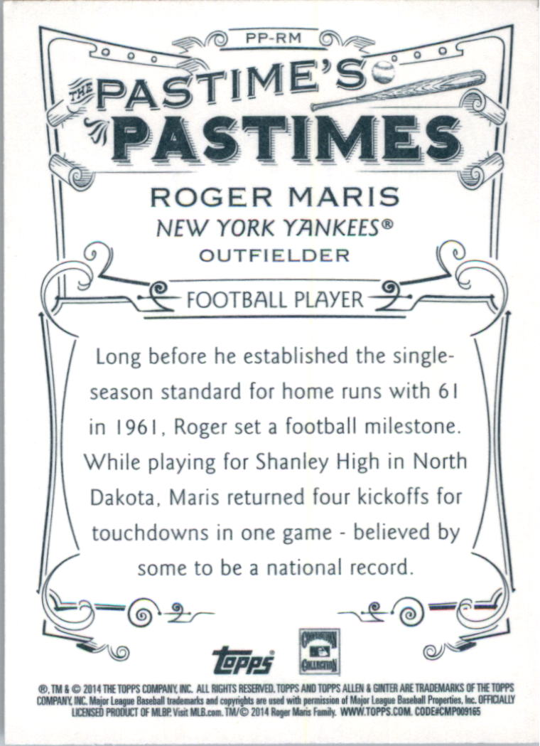 2014 Topps Allen and Ginter The Pastime's Pastime #PPRM Roger Maris