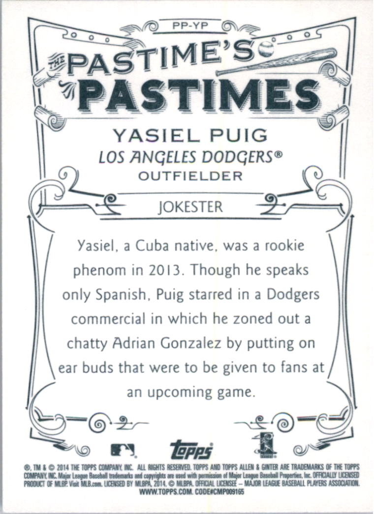 2014 Topps Allen and Ginter The Pastime's Pastime #PPYP Yasiel Puig