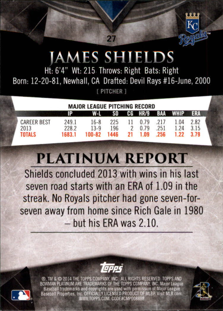 2014 Bowman Platinum Gold #27 James Shields