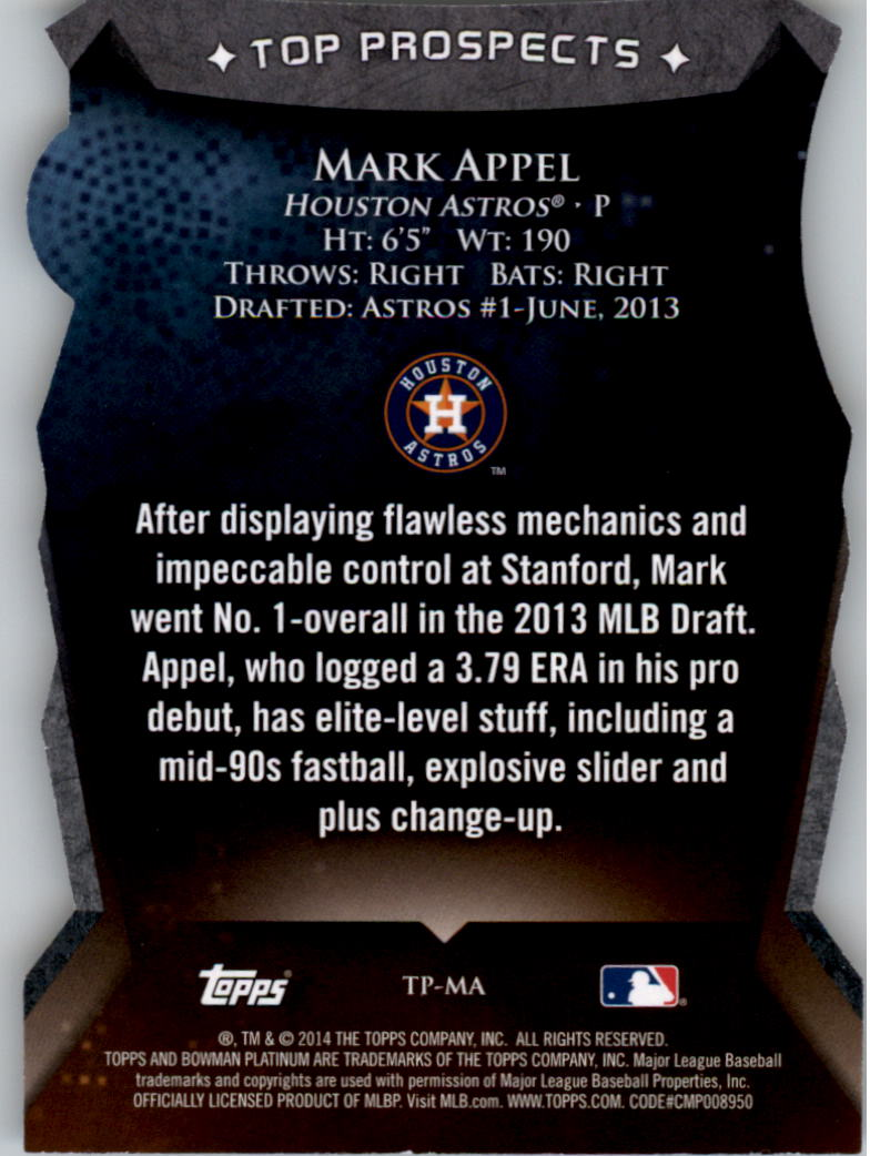 2014 Bowman Platinum Top Prospects Die Cuts #TPMA Mark Appel