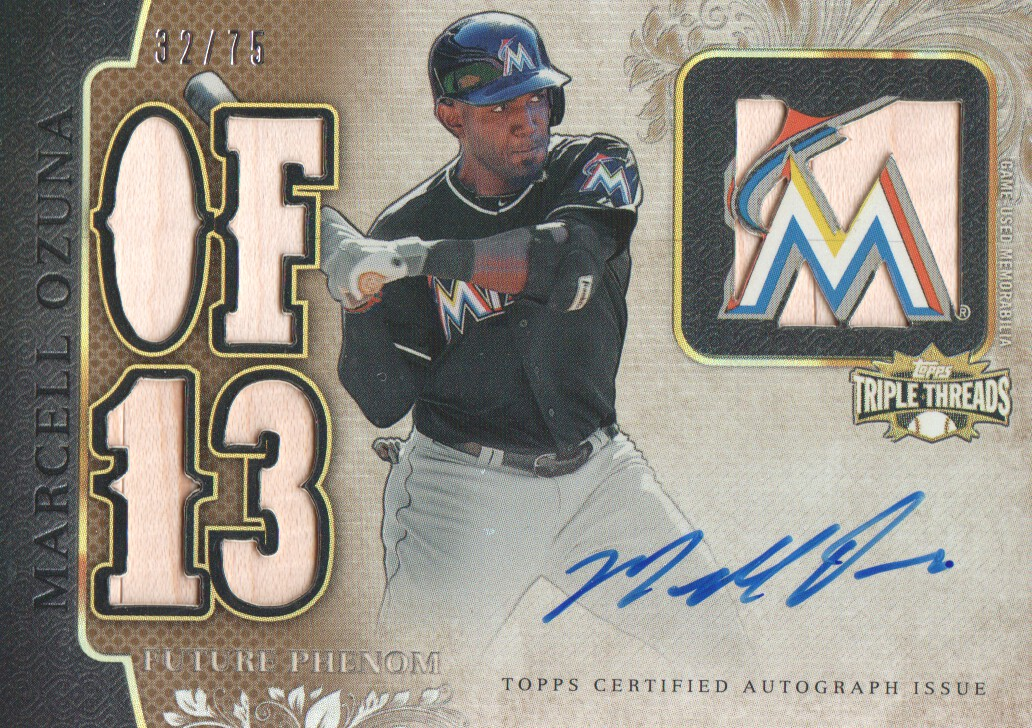 2014 Topps Triple Threads Sepia #155 Marcell Ozuna JSY AU