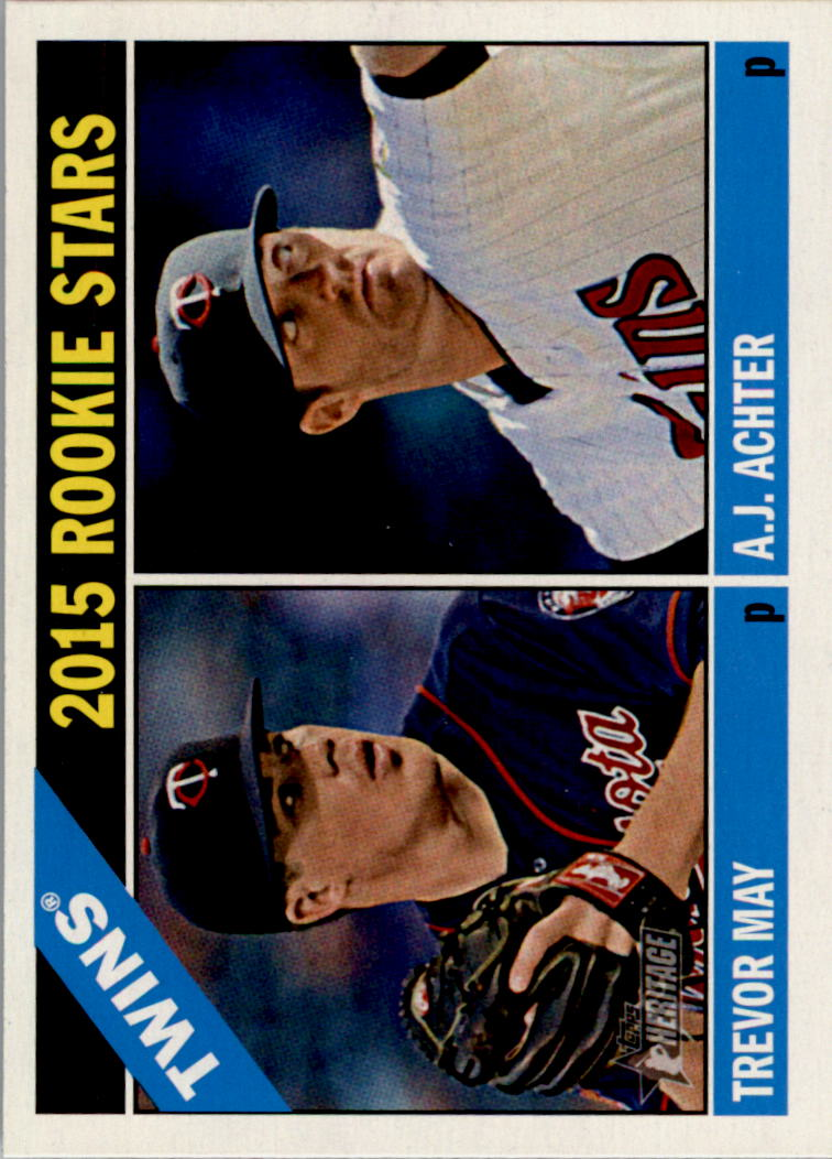 2015 Topps Heritage #264 Trevor May RC/A.J. Achter RC