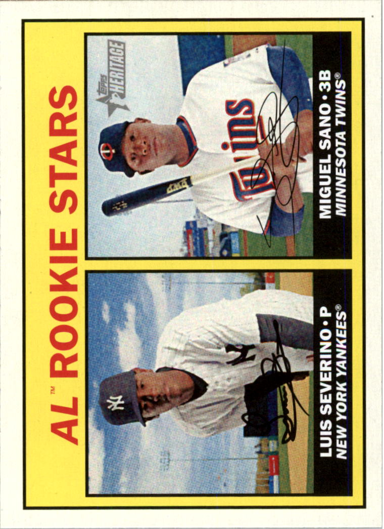 2016 Topps Heritage #190A Luis Severino RC/Miguel Sano RC