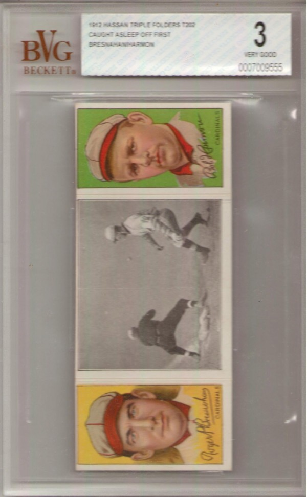 1912 Hassan Triple Folders T202 #15 Caught Asleep Off First/Roger Bresnahan/Robert Harmon