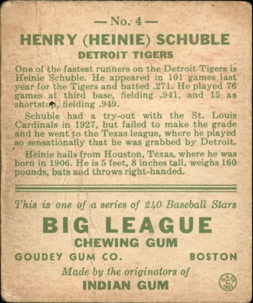 1933 Goudey #4 Heinie Schuble RC back image