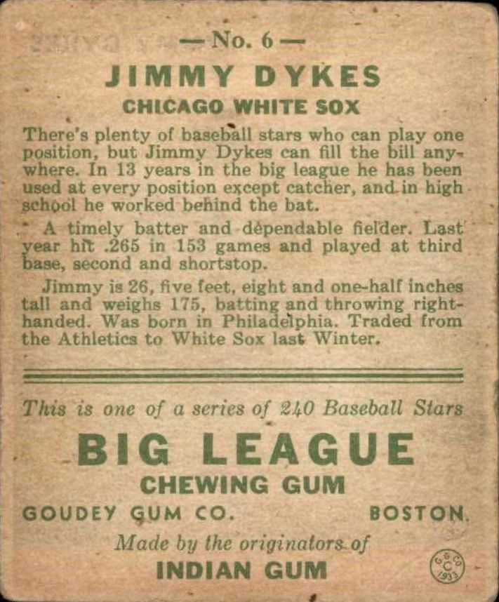 1933 Goudey #6 Jimmy Dykes RC back image