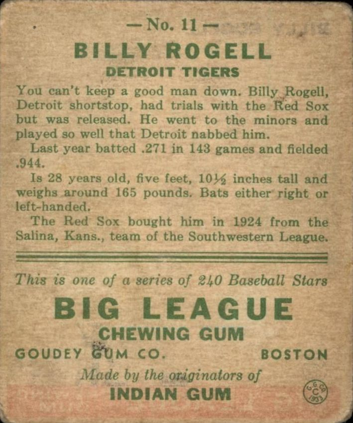 1933 Goudey #11 Billy Rogell RC back image