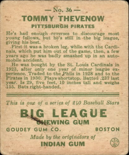 1933 Goudey #36 Tommy Thevenow RC back image