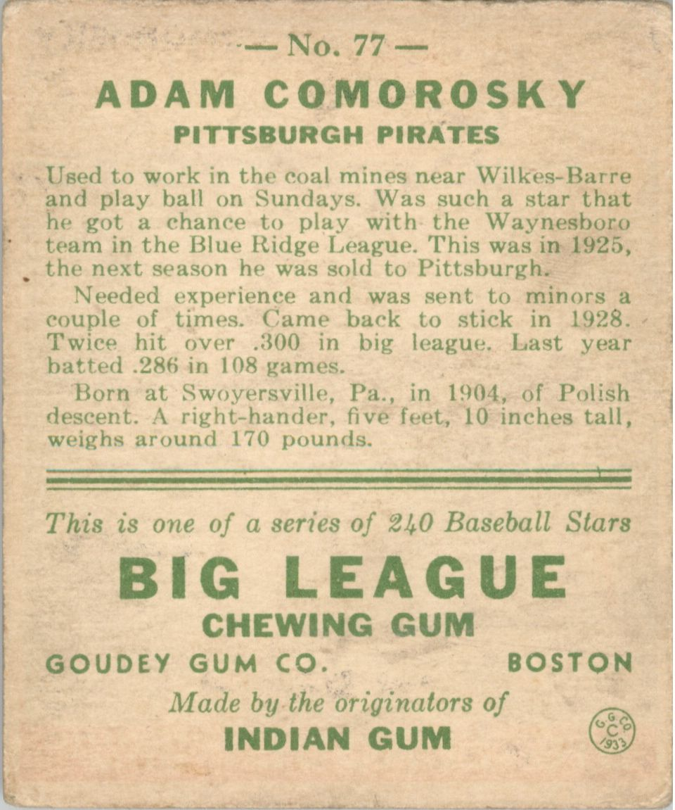1933 Goudey #77 Adam Comorosky RC back image