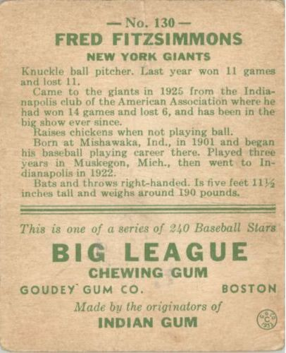 1933 Goudey #130 Fred Fitzsimmons POR RC