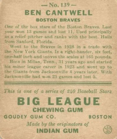 1933 Goudey #139 Ben Cantwell RC back image