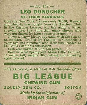 1933 Goudey #147 Leo Durocher RC back image