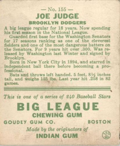 1933 Goudey #155 Joe Judge RC back image