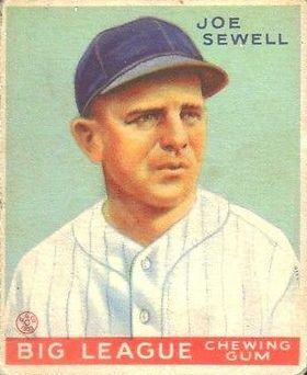 1933 Goudey #165 Joe Sewell RC