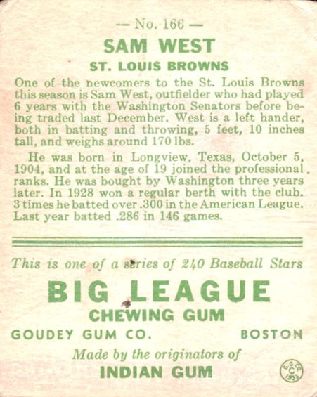 1933 Goudey #166 Sam West RC back image