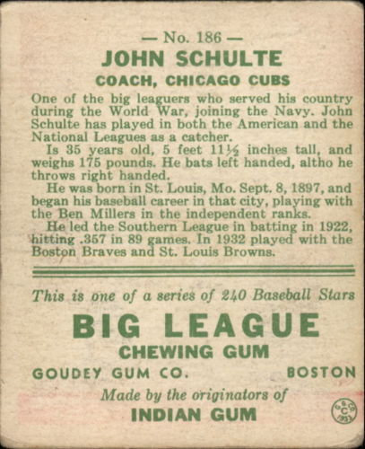 1933 Goudey #186 John Schulte RC back image