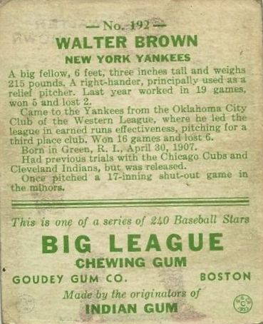 1933 Goudey #192 Walter Brown RC back image