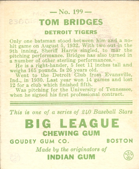 1933 Goudey #199 Tom Bridges RC back image