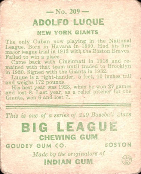 1933 Goudey #209 Adolfo Luque RC back image