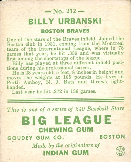 1933 Goudey #212 Billy Urbanski RC