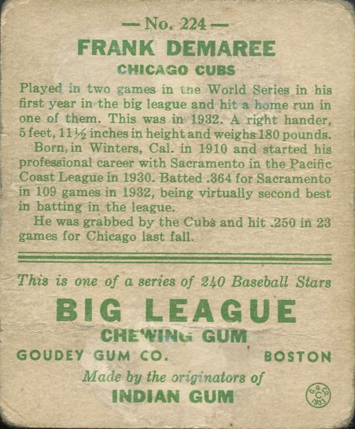 1933 Goudey #224 Frank Demaree RC back image