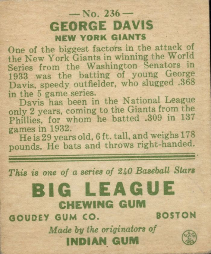 1933 Goudey #236 George Davis RC back image