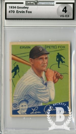 1934 Goudey #70 Pete Fox RC